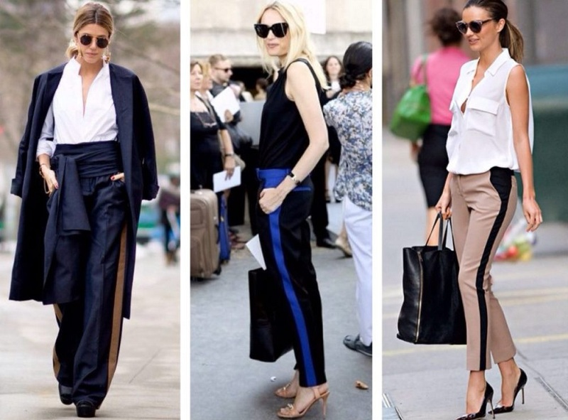 Trousers With Stripes In The Women's Wardrobe